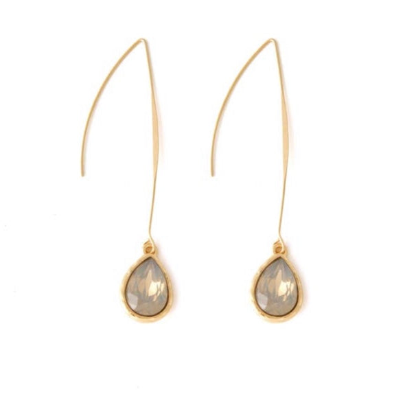 Earrings Gray Crystal and Gold Tear Drop Dangle