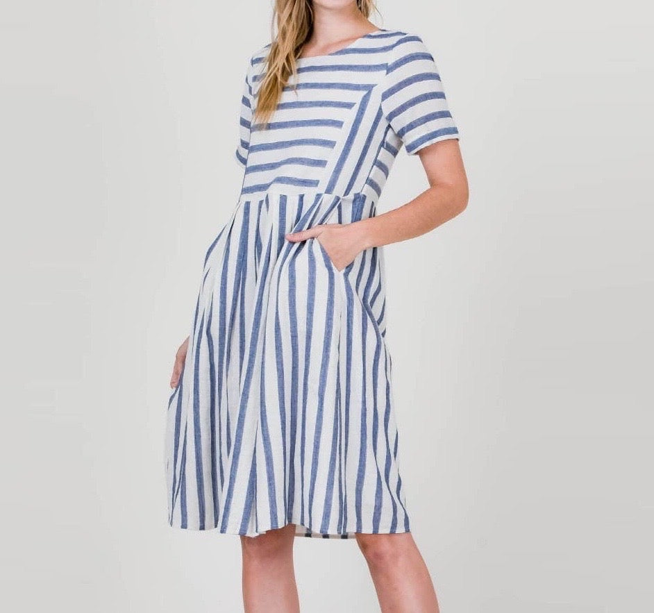 Dress Linen Blue Stripe