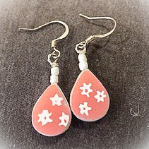 Hand Made Earrings From Vintage Pyrex Pink Gooseberry Pattern