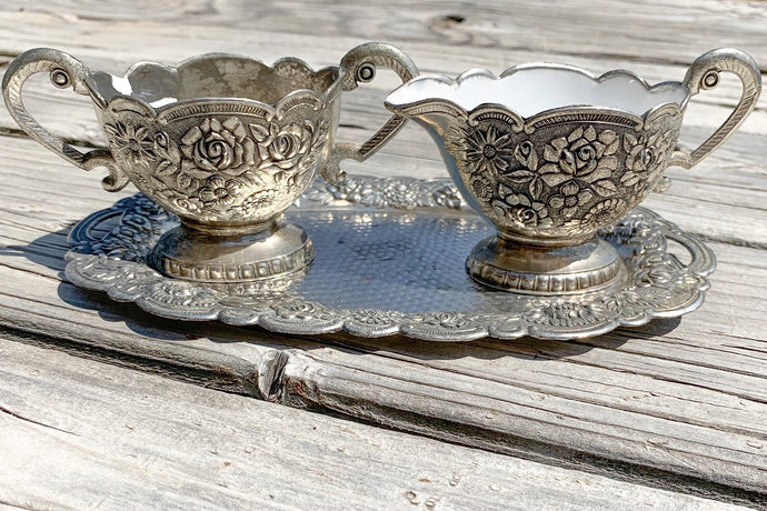 Vintage Repousse Sugar & Creamer on Tray