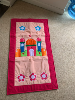 Kids Prayer mat - Pink border - Mosque & flower