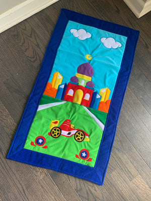 Kids Prayer Mat - Blue Race Car