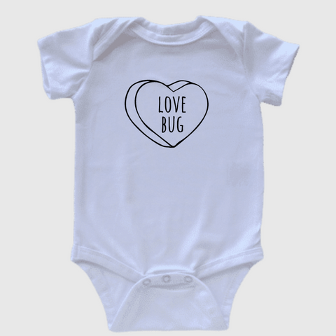 Love bug Valentine's Day onesie or Tee