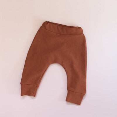 Terracotta fleece pants handmade with ribbed cuffs and soft elastic waistband