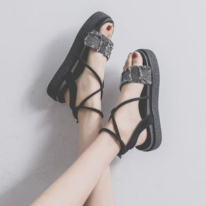 New Platform Women Sandals Flat Canvas + Suede Upper - The Jewelry Barn