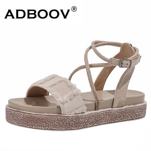 New Platform Women Sandals Flat Canvas + Suede Upper - the-jewelry-barn