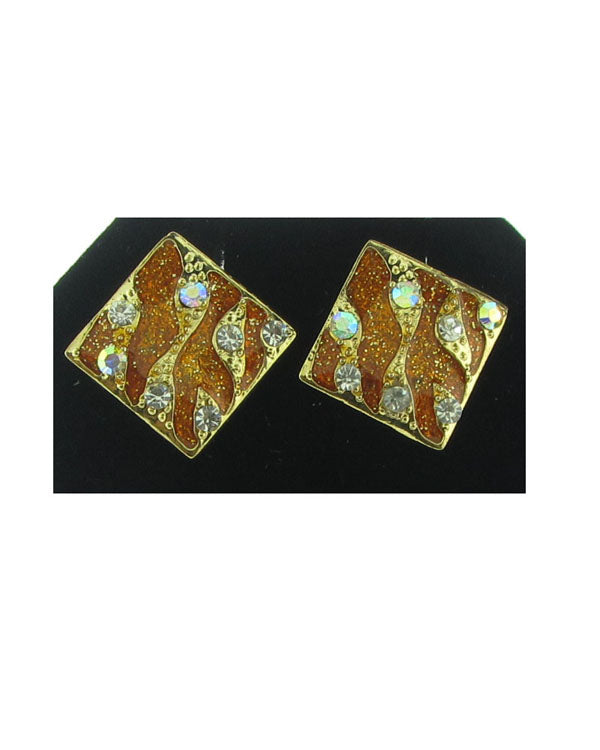 Square studs w/rhinestone detail - the-jewelry-barn