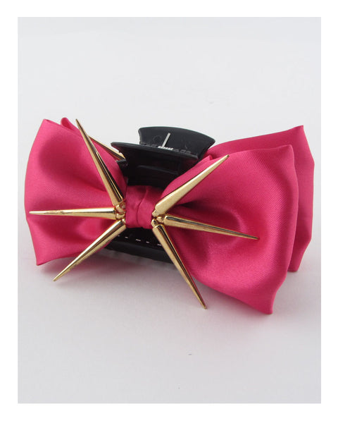 Bow hair jaw clip w/decorative spikes - The Jewelry Barn