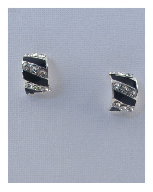 Striped stud earrings w/rhinestone - the-jewelry-barn