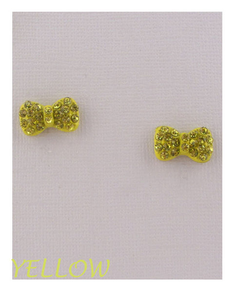 Bow earrings w/decorative rhinestones - the-jewelry-barn