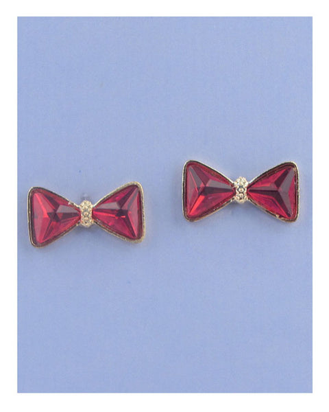 Faux crystal bow stud earrings - the-jewelry-barn