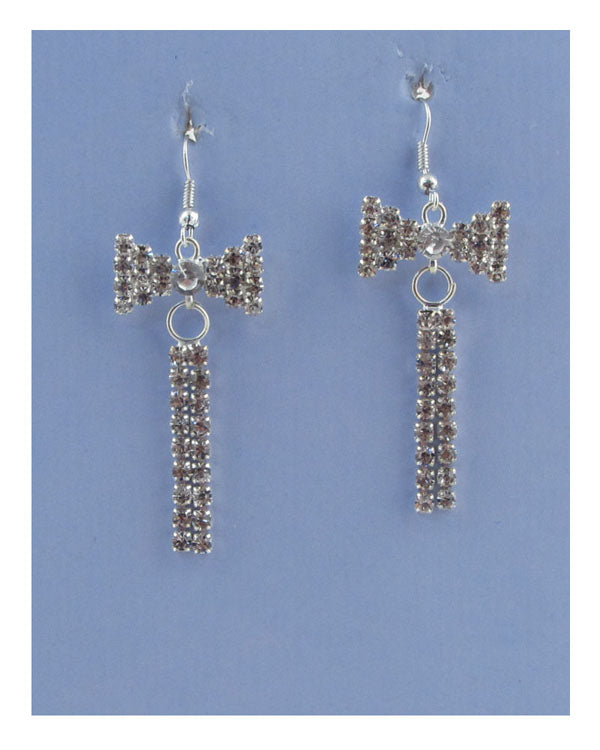 Drop rhinestone bow earrings - The Jewelry Barn