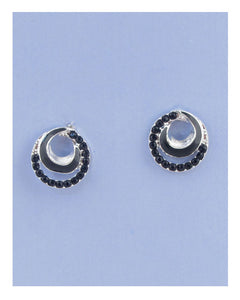 Overlap circle earrings w/rhinestone - The Jewelry Barn