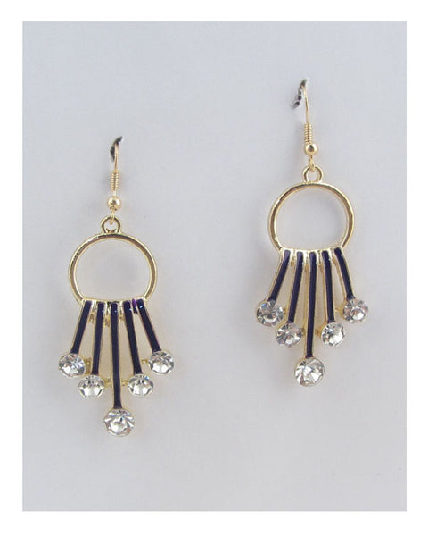 Circle earrings w/decorative rhinestones - The Jewelry Barn