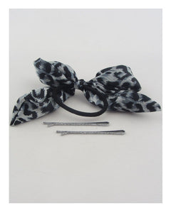 Hair elastic w/animal print bow - The Jewelry Barn