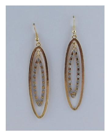 Drop oval earrings w/rhinestone - the-jewelry-barn