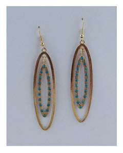 Drop oval earrings w/rhinestone - The Jewelry Barn