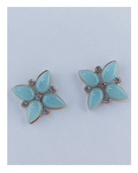 Flower shape faux stone earrings - the-jewelry-barn
