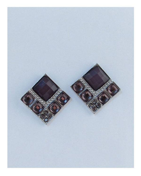 Squared faux stone earrings - the-jewelry-barn