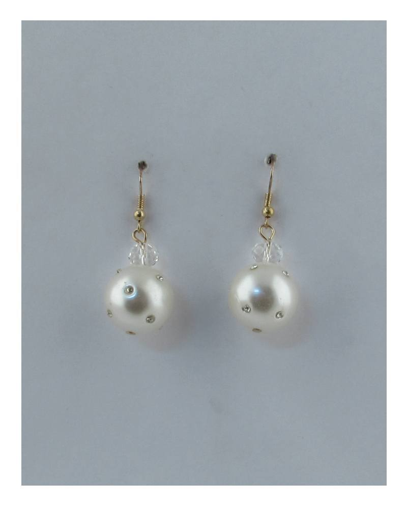 Rhinestone pearl drop dangle earrings - the-jewelry-barn
