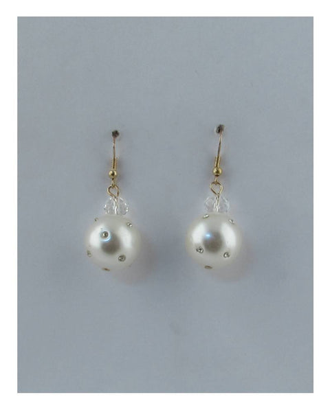 Rhinestone pearl drop dangle earrings - The Jewelry Barn