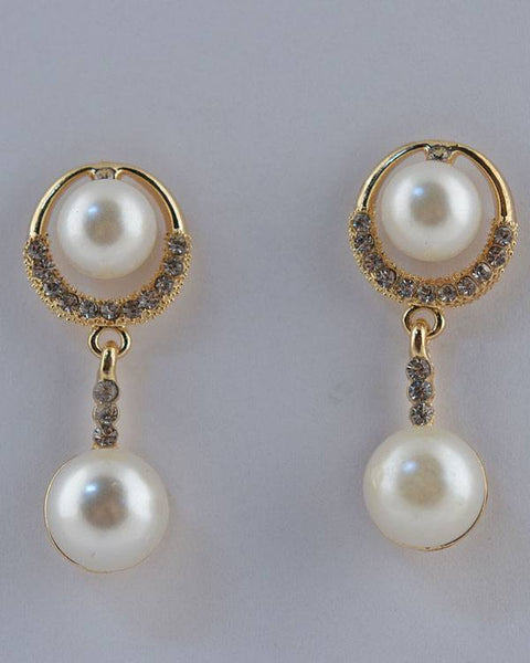 Faux Pearl Drop Earrings w/ Rhinestones - The Jewelry Barn