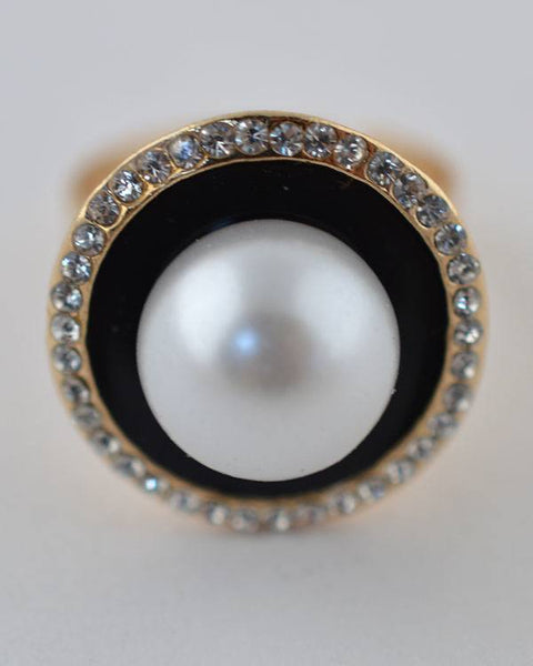 Faux Pearl Rhinestone Ring - The Jewelry Barn