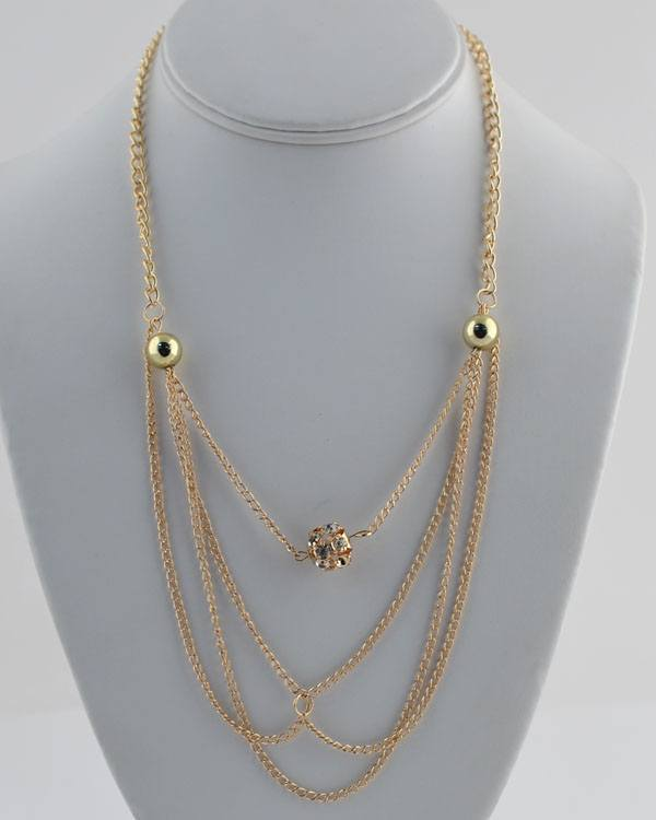 Layered faux pearl chain necklace w/ rhinestone detail - The Jewelry Barn