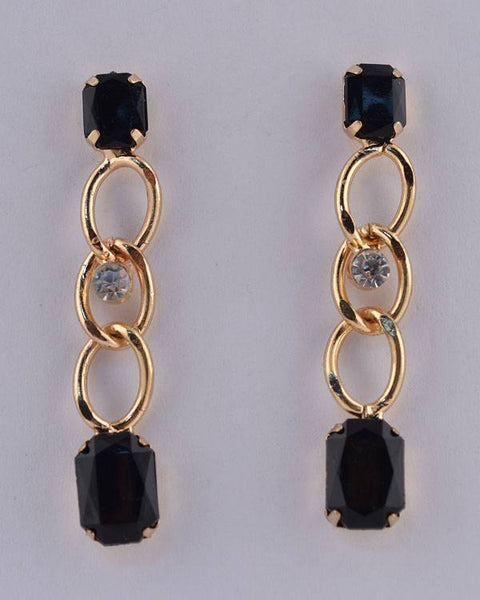 Faux Gemstone Curb Link Rhinestone Dangle Earrings - The Jewelry Barn