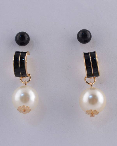Semi Hoop Faux Pearl Drop Earrings