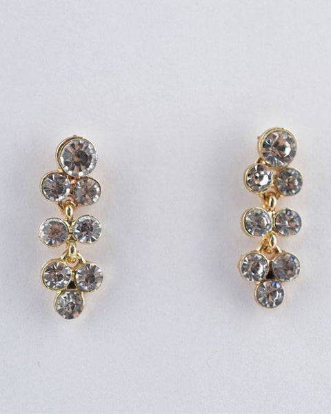 Rhinestone Studded Long Bunch Earrings - The Jewelry Barn