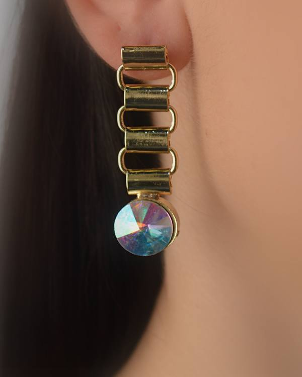 Link Drop Earrings with Crystal Accent - The Jewelry Barn