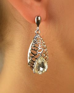 Carved Teardrop Earring with Teardrop Rhinestone Accent - The Jewelry Barn