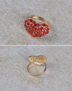 Rhinestone Studded Heart Shaped Ring - The Jewelry Barn