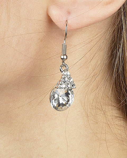 Triangular Crystal Cluster Drop Earring with Multifaceted Crystal Accent - The Jewelry Barn