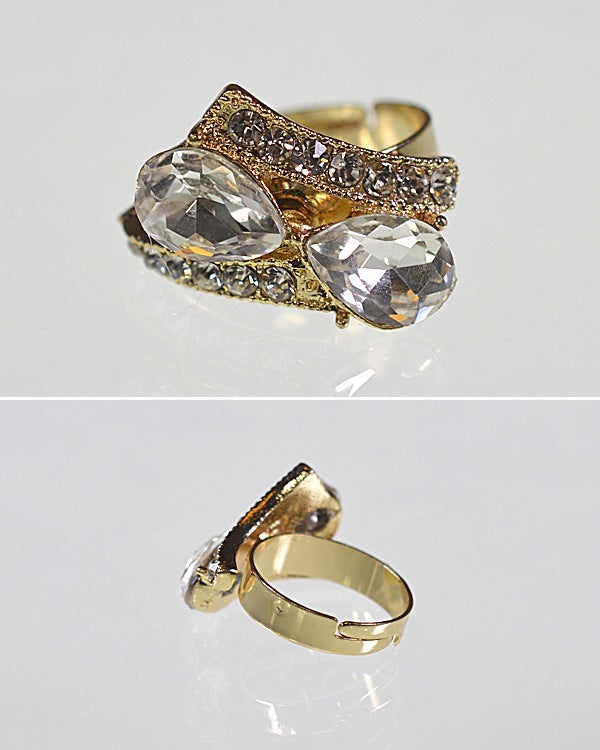 Crystal and Rhinestone Studded Adjustable Metallic Ring - the-jewelry-barn