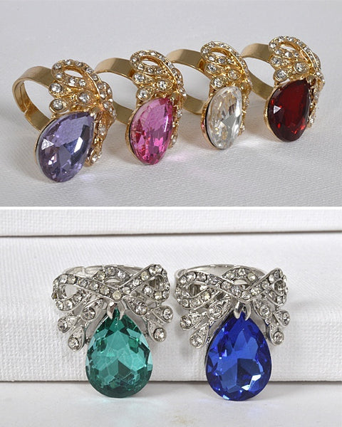 Crystal and Stone Studded Adjustable Ring - The Jewelry Barn