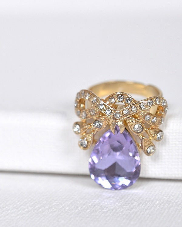 Crystal and Stone Studded Adjustable Ring - the-jewelry-barn