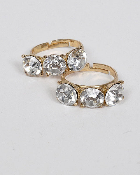 Set of Two Small Crystal Studded Ring - The Jewelry Barn