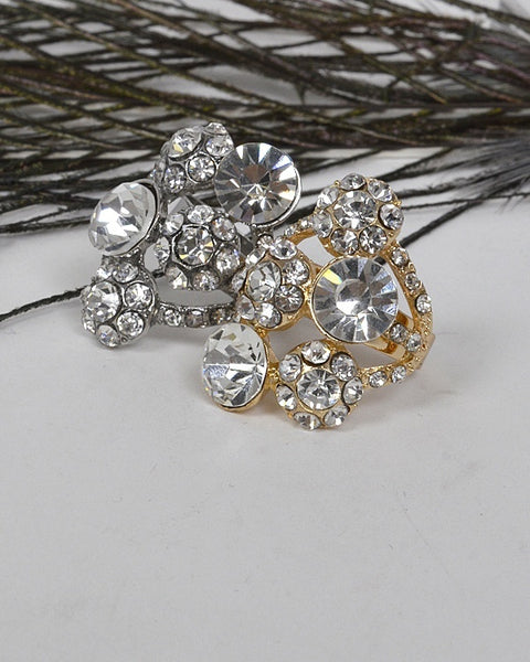 Adjustable Cluster Ring with Studded Crystals - The Jewelry Barn