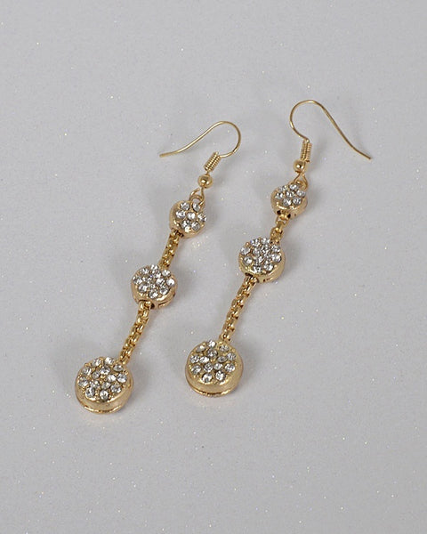 Three Tier Crystal Accent Drop Earrings - the-jewelry-barn