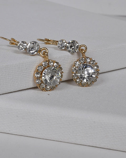 Crystal and Stone Studded Drop Earrings with Lever Back - the-jewelry-barn