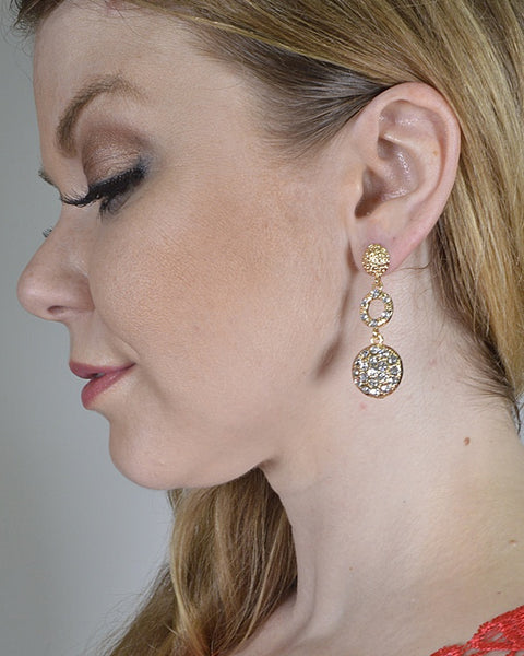 Metal Embellished Stone Studded Drop Earrings id.31467 - The Jewelry Barn