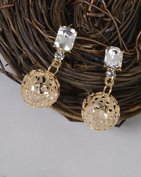 Metallic Cage Crystal Studded Drop Earrings id.31482 - the-jewelry-barn