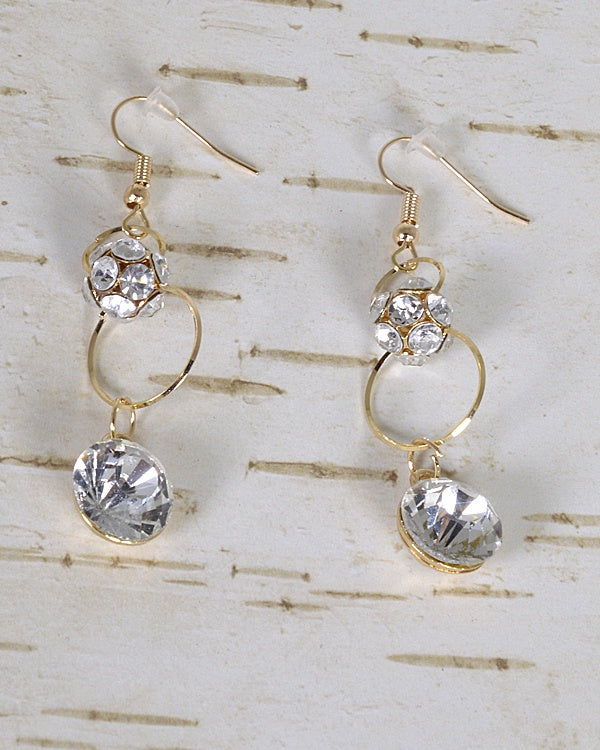 Stone and Crystal Studded Fishhook Drop Earrings - the-jewelry-barn