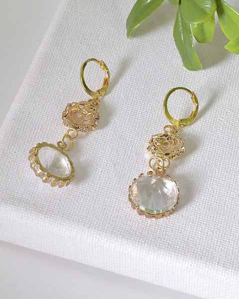Floral Pattern and Crystal Studded Drop Earrings id.31602 - the-jewelry-barn