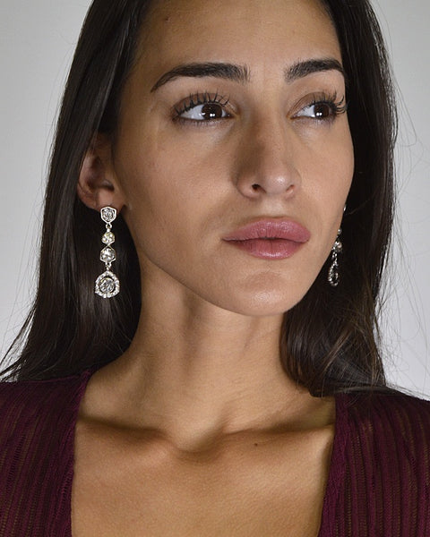 Crystal and Stone Embellished Drop Earrings - The Jewelry Barn