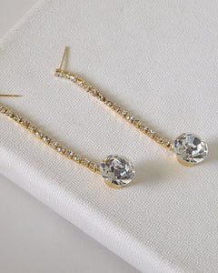 Rhinestones and Crystal Studded Drop Earrings - the-jewelry-barn