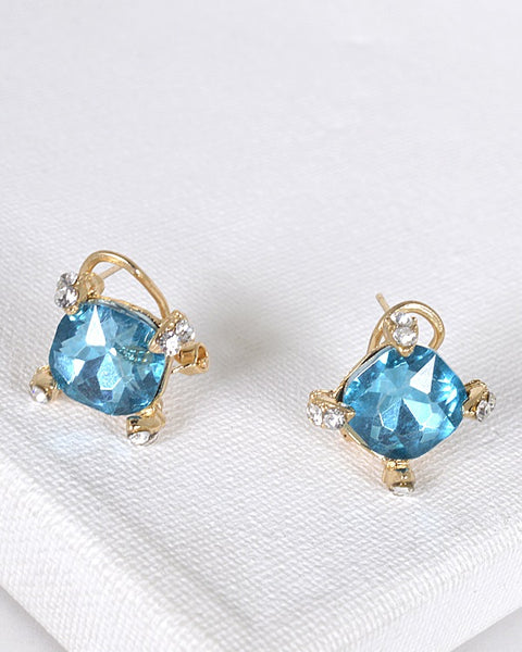 Crystal and Stone Embellished Stud Earrings - the-jewelry-barn