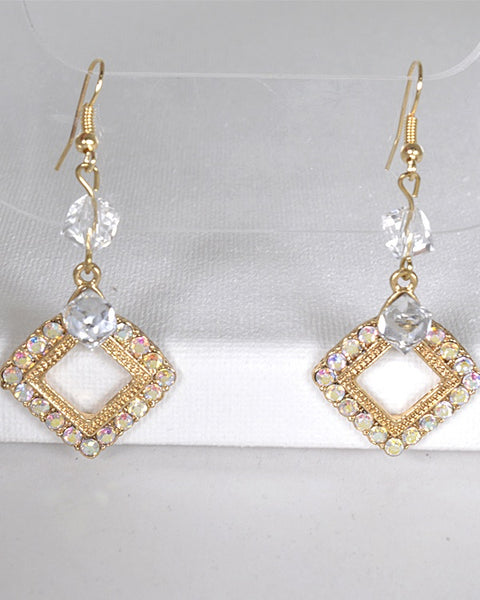 Crystal Studded Rhombus Shaped Earrings with Fishhook - The Jewelry Barn